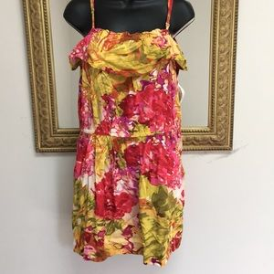 J.Crew sun Dres colorful floral ruffle pockets